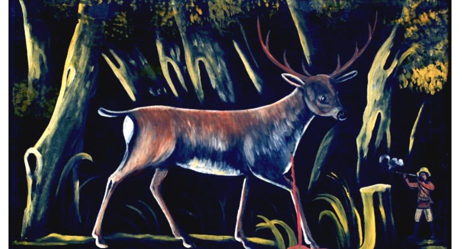 Story Art: Hunter Shooting a Deer